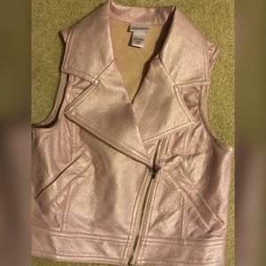 "Girls 6/6x Light Pink ""Leather"" Vest"